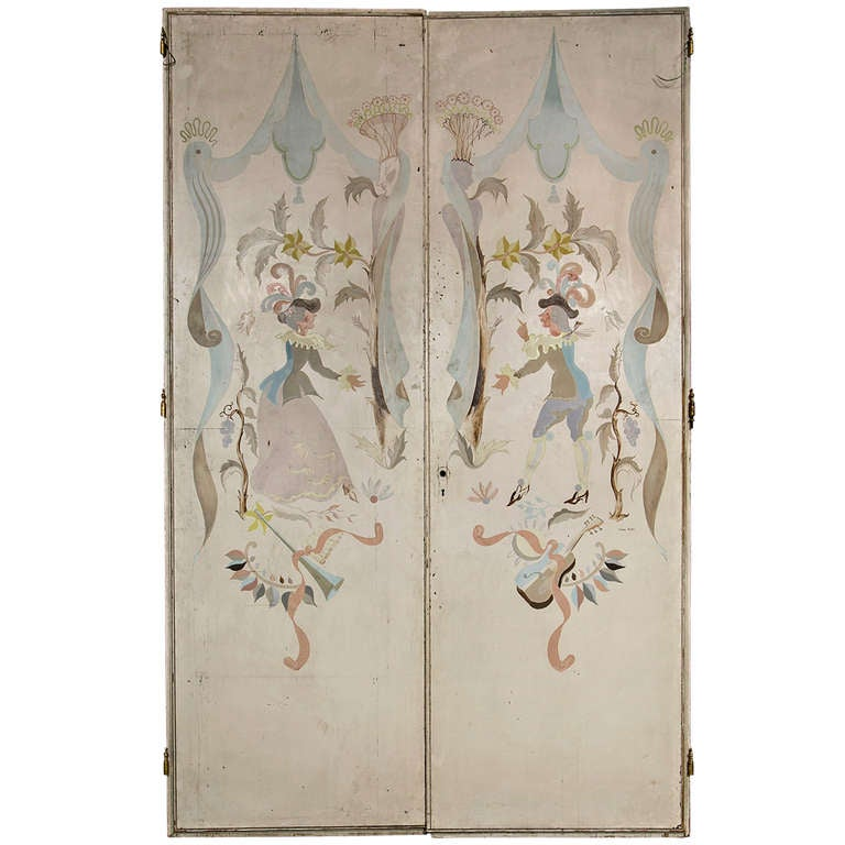 Pair of French 1940s Signed and Hand-Painted Doors After Berard For Sale