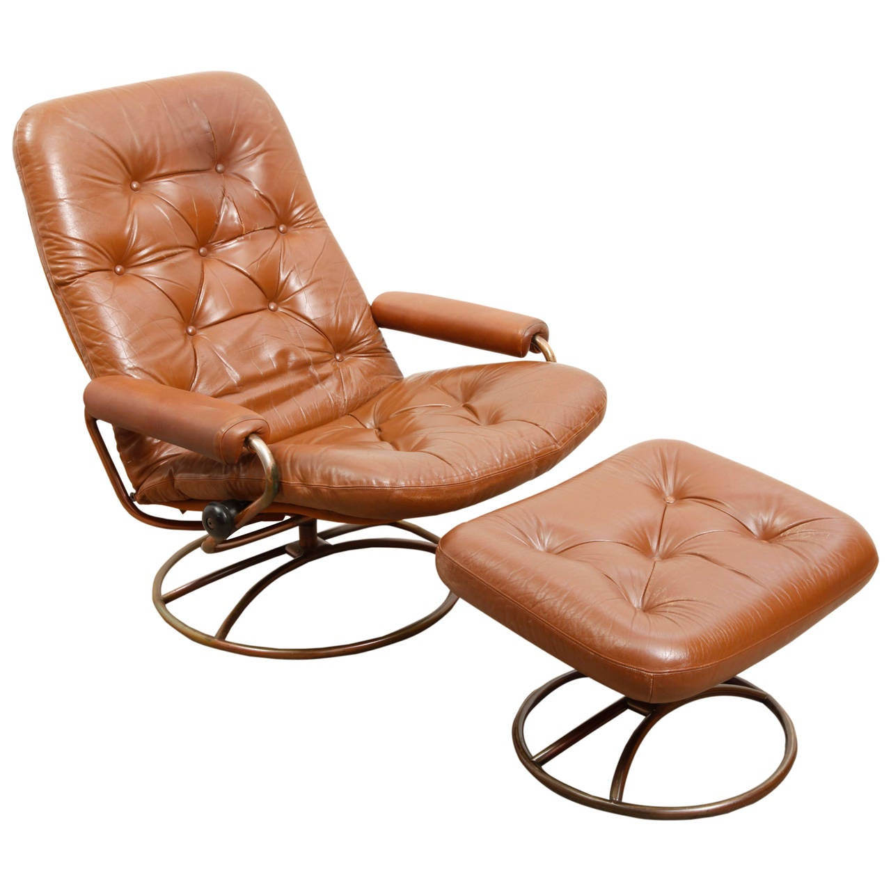 Bruno Mathsson Swivel Lounge Chair with Ottoman at 1stdibs