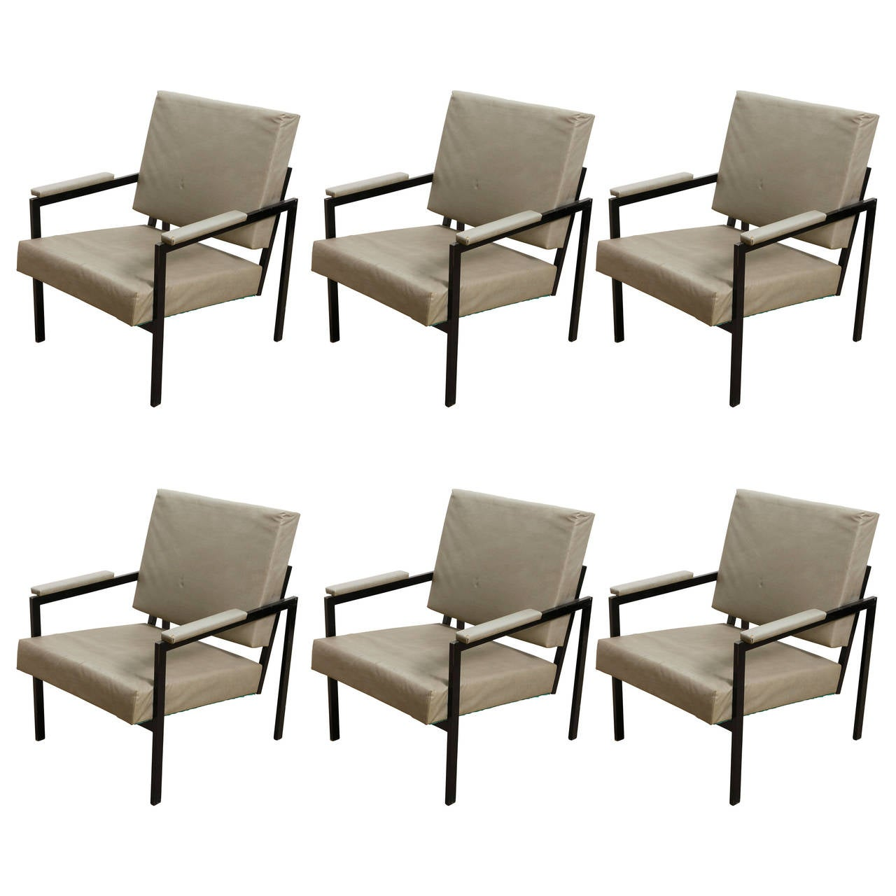 Set of Six Lounge Chairs by Pierre Guariche for Meurop, 1950s