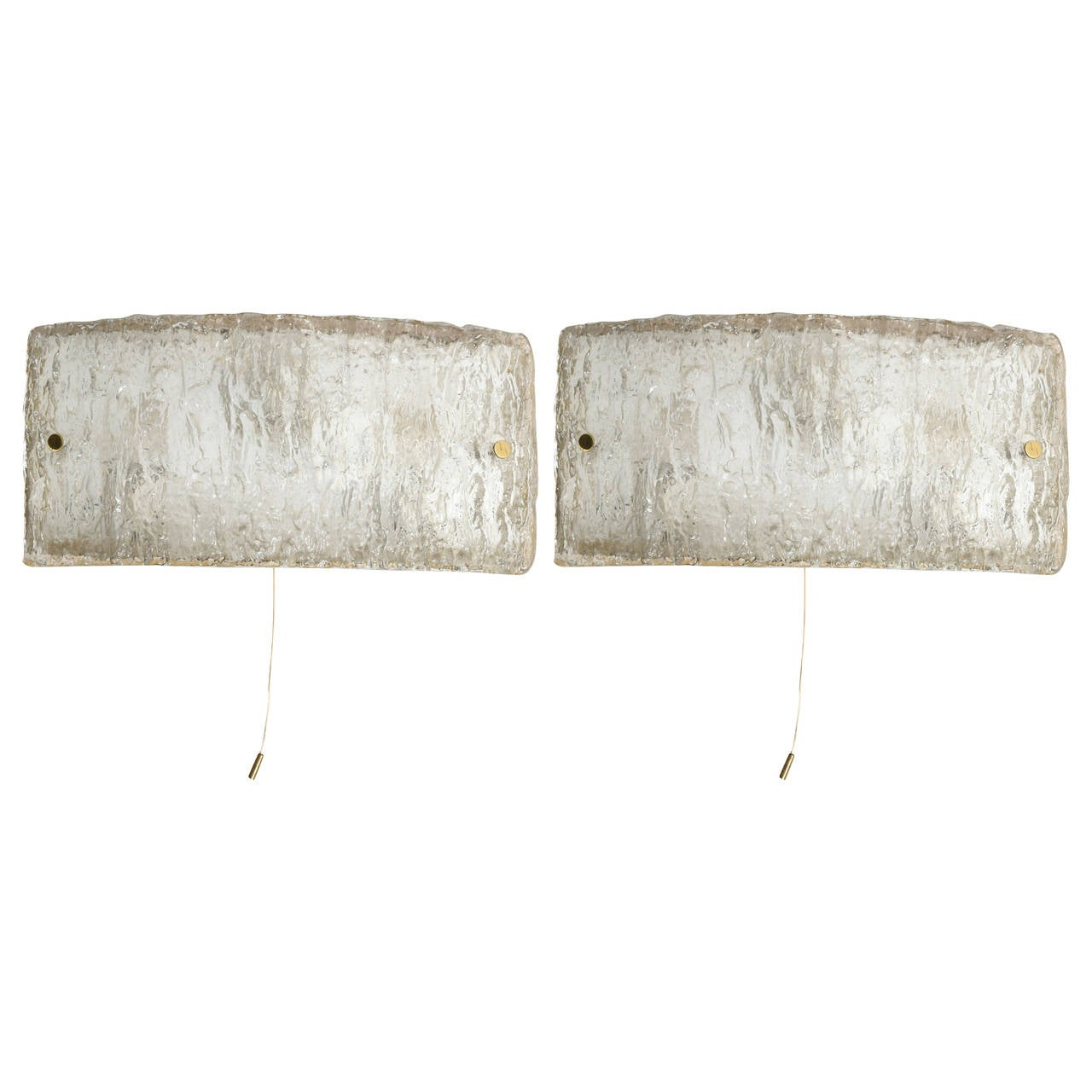 Kaiser Set of Two Large Textured Ice Glass Sconces