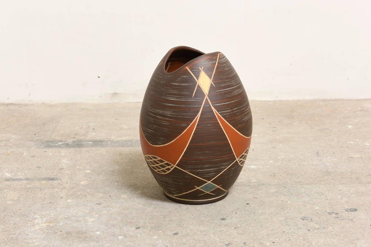 Mid-Century Modern Large Brown Ilkra Ceramic, 1950s Sgraffito Vase,Germany For Sale