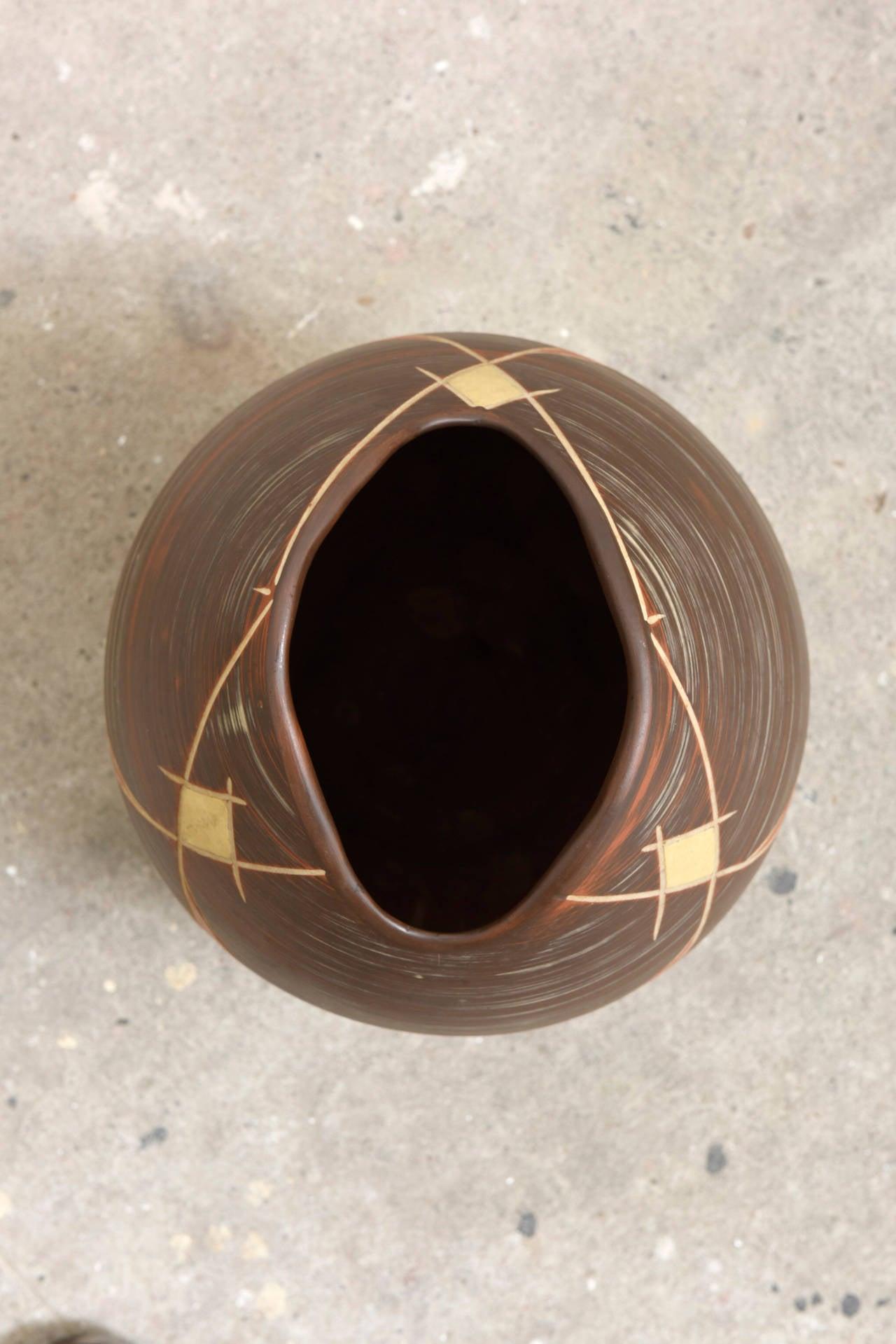 Other Large Brown Ilkra Ceramic, 1950s Sgraffito Vase,Germany For Sale