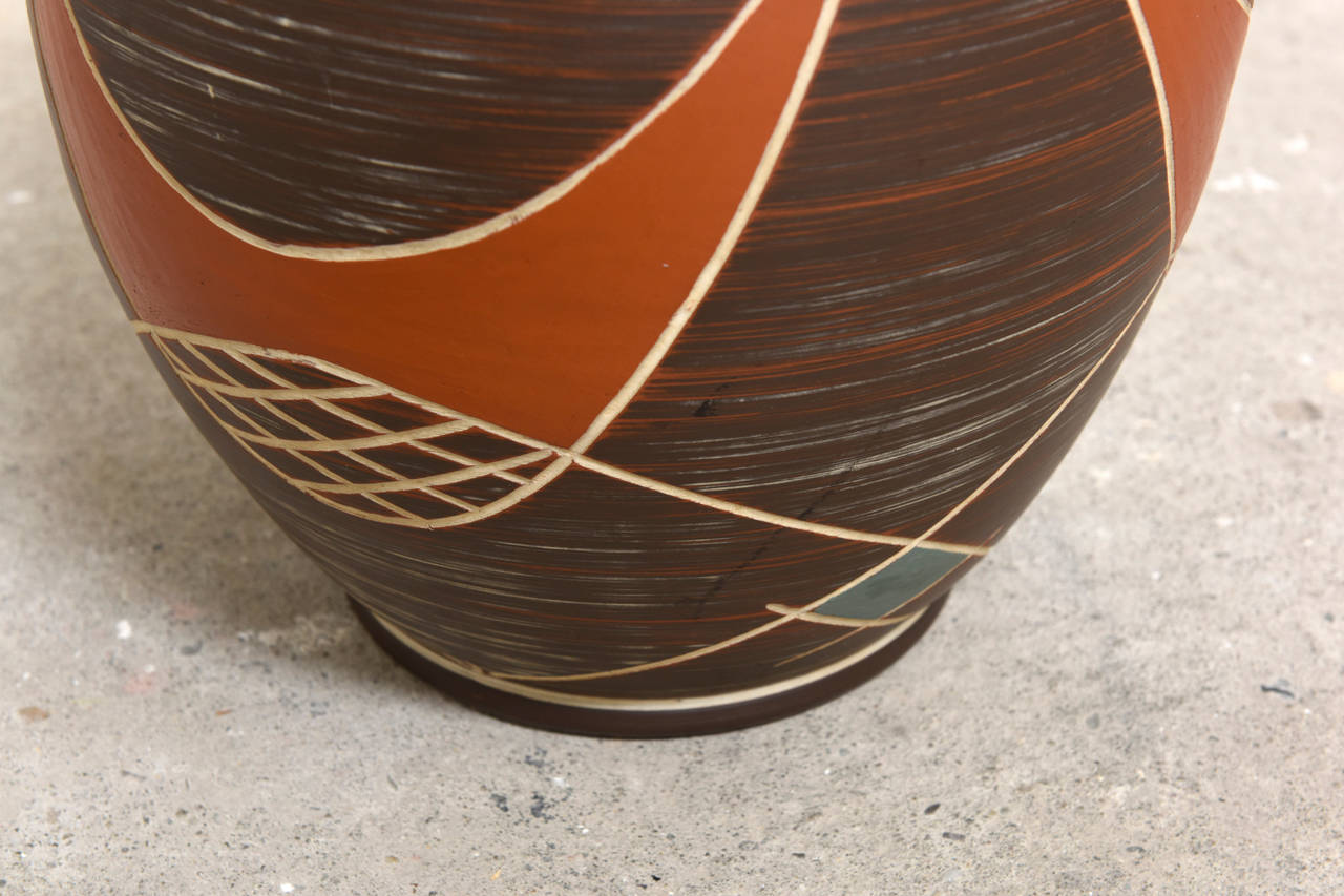 Large Brown Ilkra Ceramic, 1950s Sgraffito Vase,Germany In Excellent Condition For Sale In Antwerp, BE