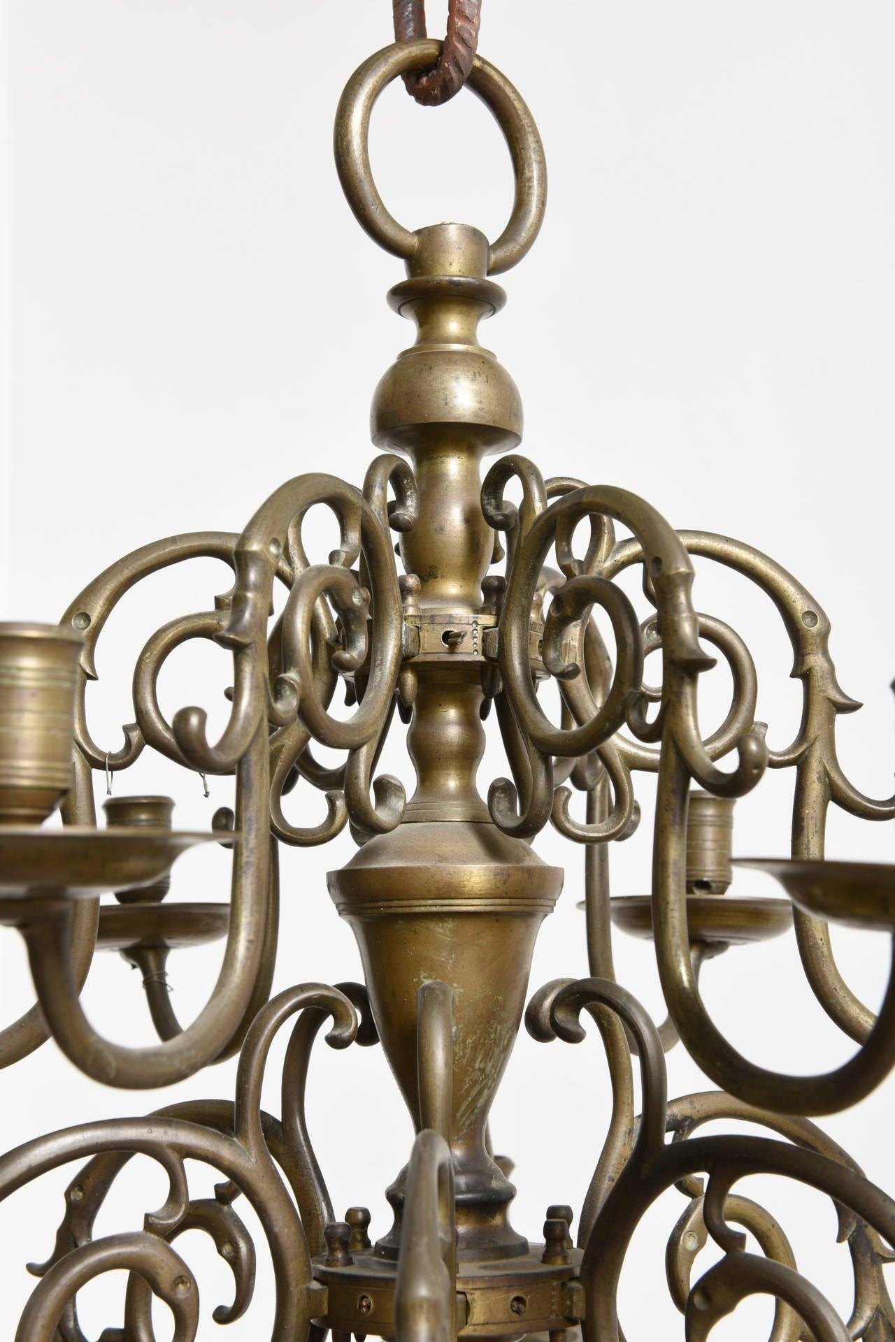 Dutch Bronze Twelve-Arm Candle Holder Chandelier, 18th ...