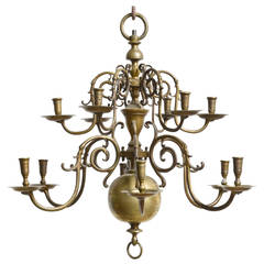Dutch Baroque 18th Century Bronze Two-Tier Chandelier