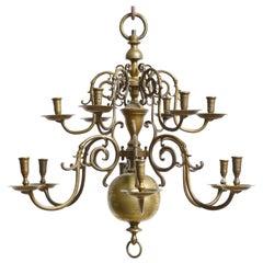 Dutch Baroque 18th Century Bronze Two-Tier Chandelier