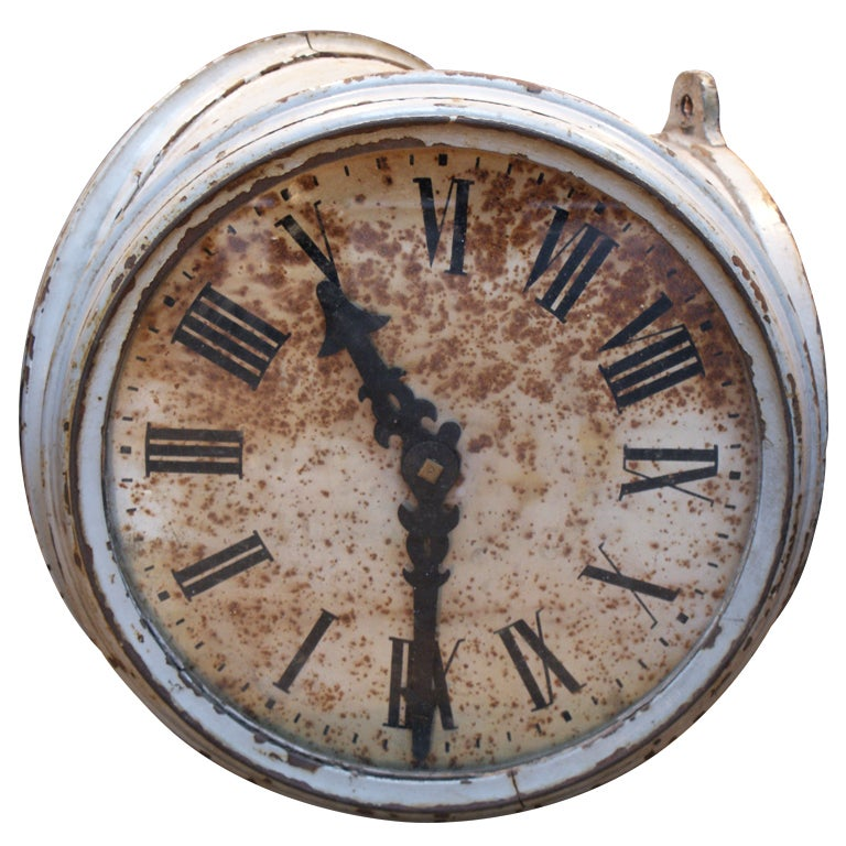 Double Sided Clock Face From A Railway Station at 1stdibs