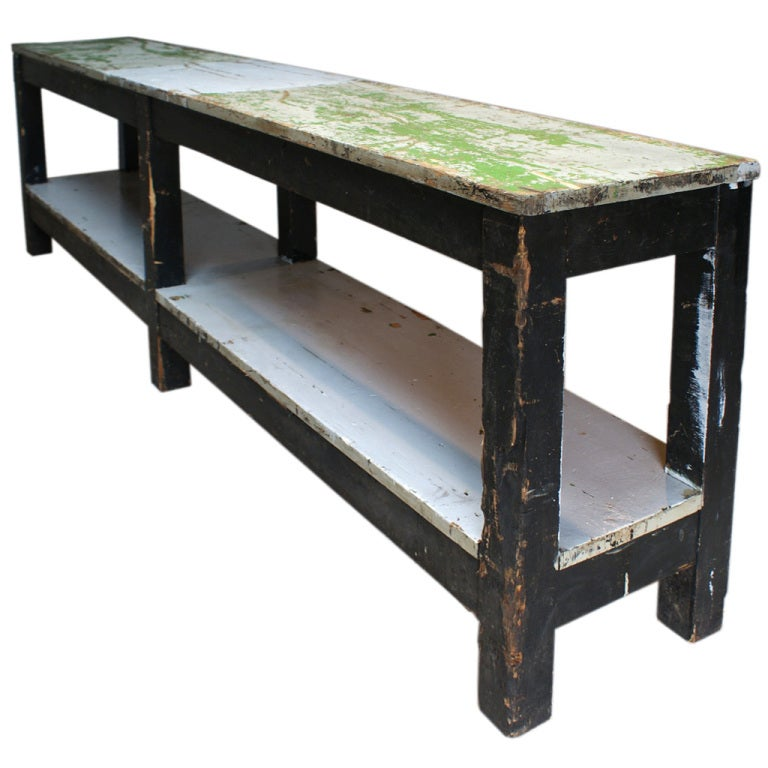 Handsome And Slim Industrial Drapery Table At 1stdibs