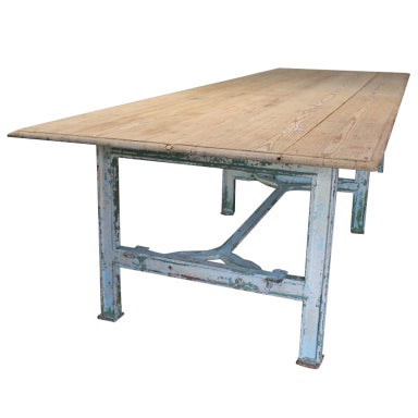 Long Industrial Dining Table At 1stdibs