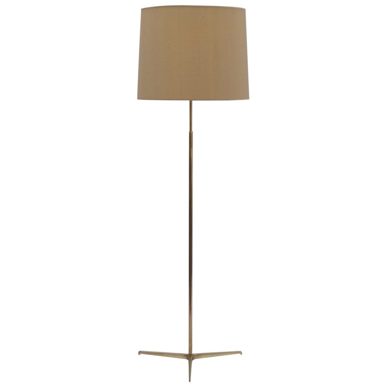 1950 39 s brass adjustable floor lamp up downlight at 1stdibs