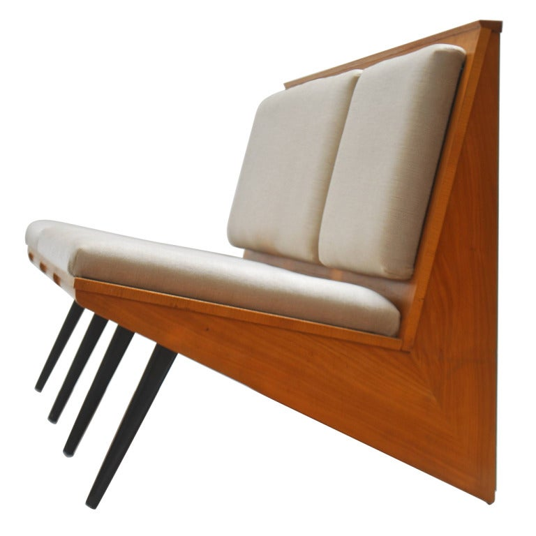 Unique Wood Benches: Unique 1956 Cherry Wood Bench By Georges Vanrijk At 1stdibs