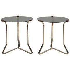Pair of 1970s French Chromed Steel Side Tables