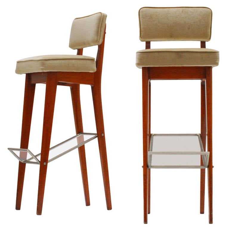 Pair Of Rare 1960s Walnut Bar Stools By Fred Sandra For De