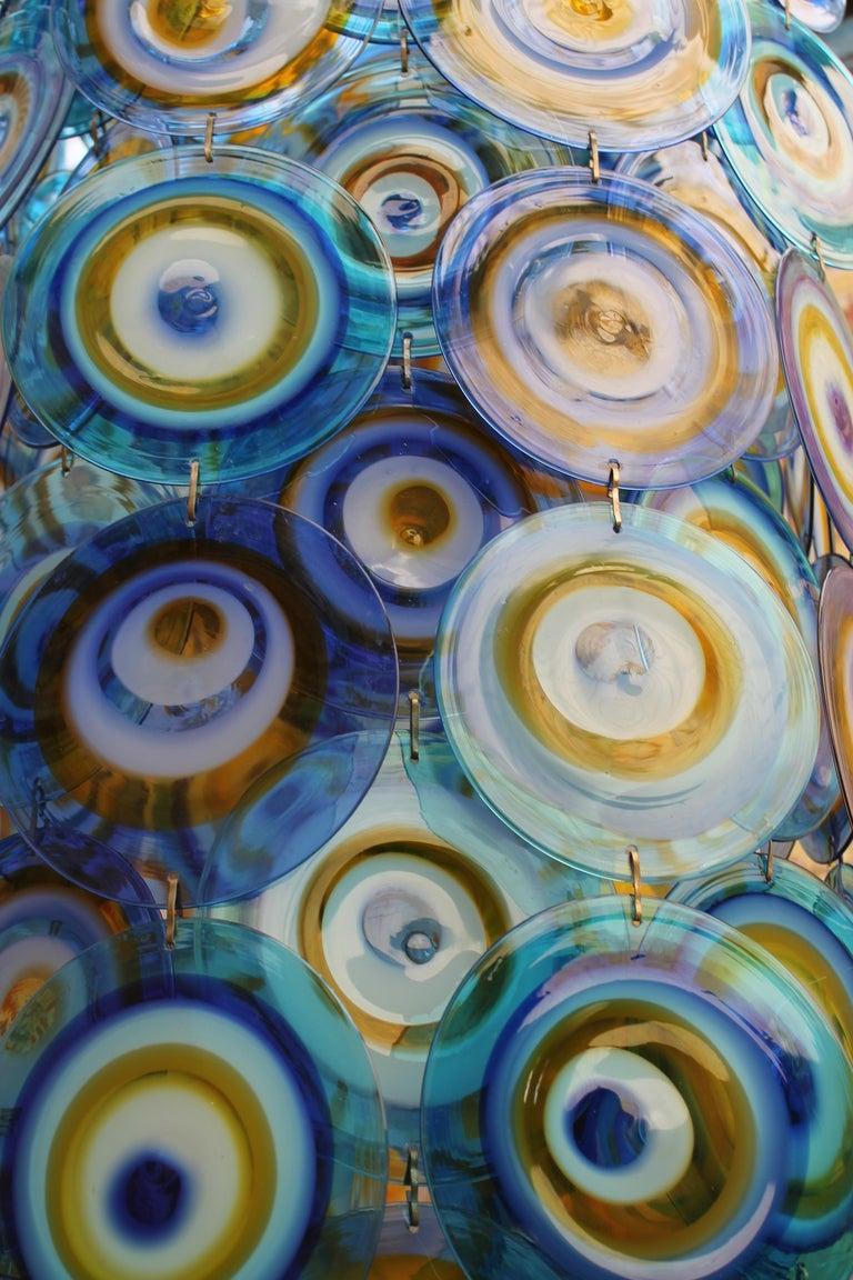lino tagliapietra glass disc chandelier Lamurina Italy 1960's 5