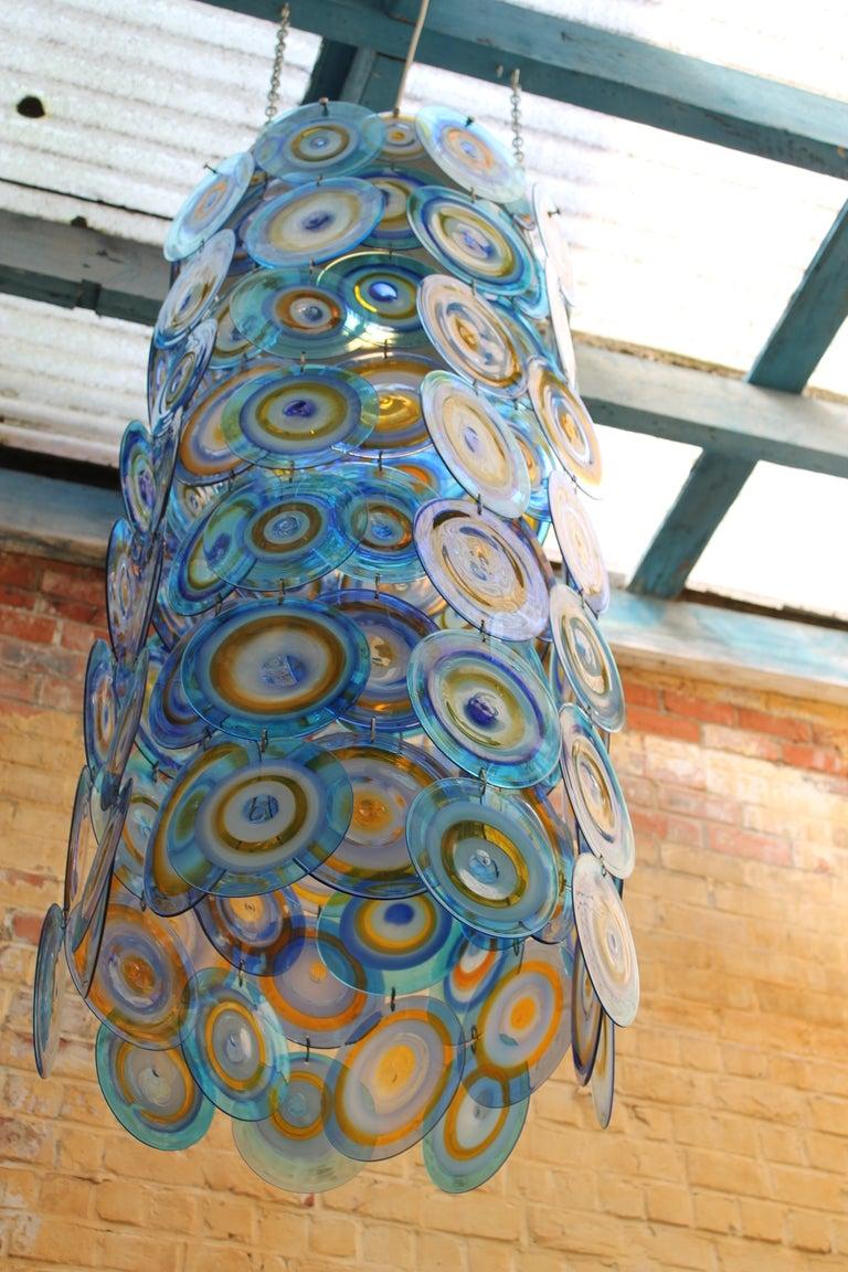 lino tagliapietra glass disc chandelier Lamurina Italy 1960's 8