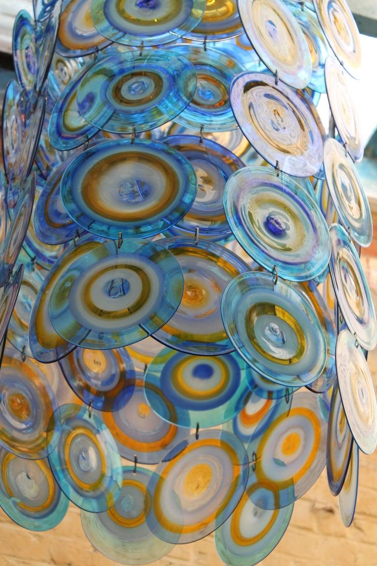 lino tagliapietra glass disc chandelier Lamurina Italy 1960's 9