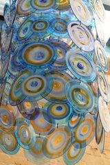 lino tagliapietra glass disc chandelier Lamurina Italy 1960's image 9