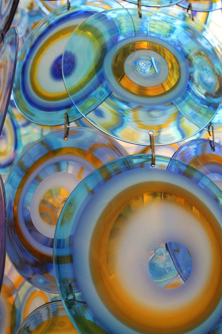lino tagliapietra glass disc chandelier Lamurina Italy 1960's 2