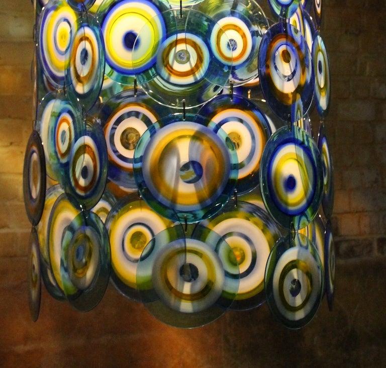 lino tagliapietra glass disc chandelier Lamurina Italy 1960's 6