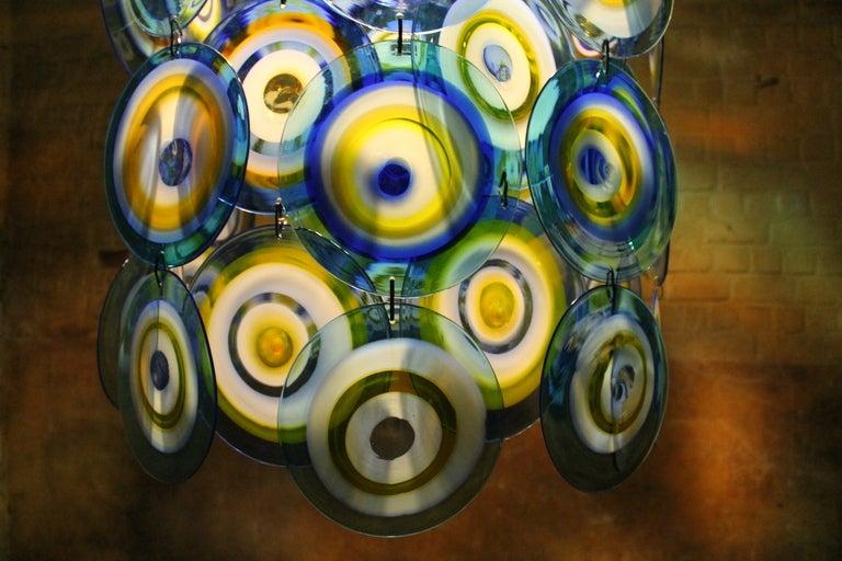 lino tagliapietra glass disc chandelier Lamurina Italy 1960's 7