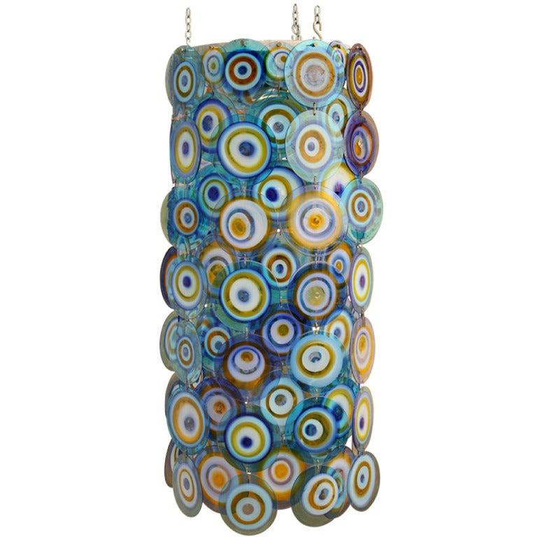 lino tagliapietra glass disc chandelier Lamurina Italy 1960's