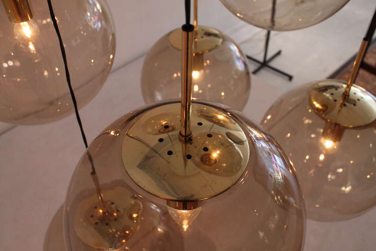 Impressive Brass and Glass Ball Chandelier by Limburg Germany