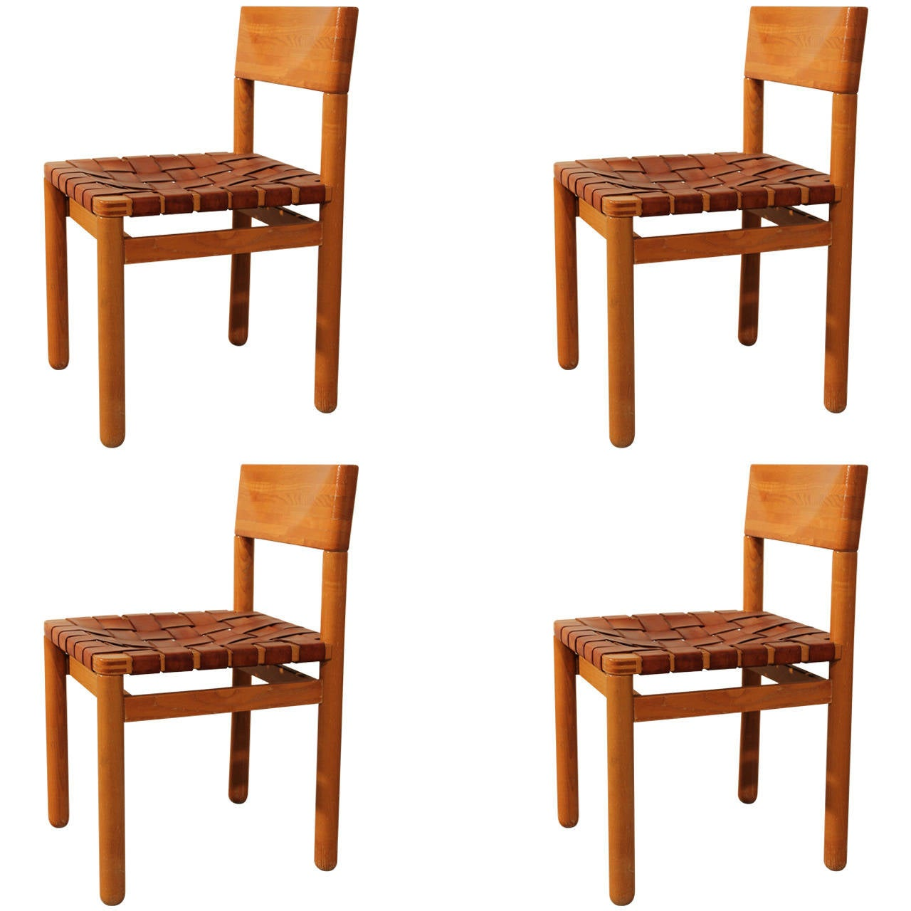 Four dining chairs in pine wood with leather seat for Wood dining chairs with leather seats