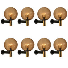 Eight Extra-Large Wall Sconces Smoked Glass with Brass Details, 1970s