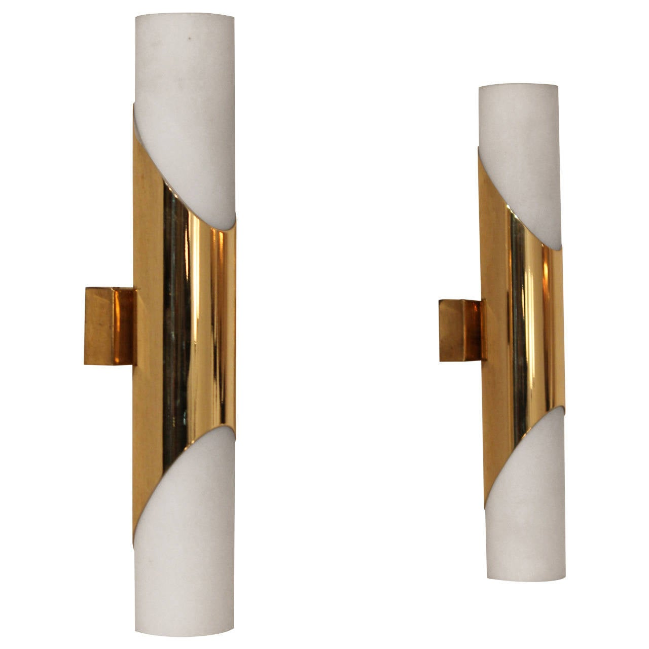 Small White Wall Lights : Very Nice Pair of Brass and Glass Sconces in the Manner of Gio Ponti, 1970 at 1stdibs