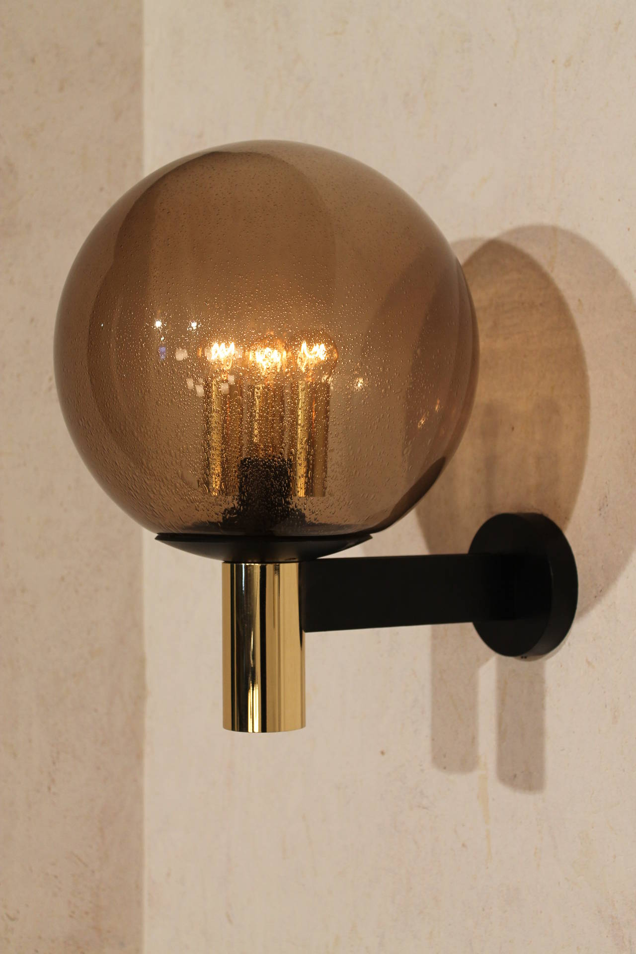 Eight Extra-Large Wall Sconces Smoked Glass with Brass Details, 1970s at 1stdibs