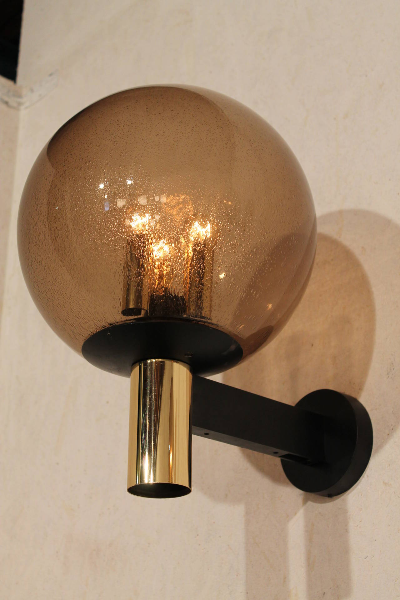 Very Large Wall Sconces : Eight Extra-Large Wall Sconces Smoked Glass with Brass Details, 1970s at 1stdibs