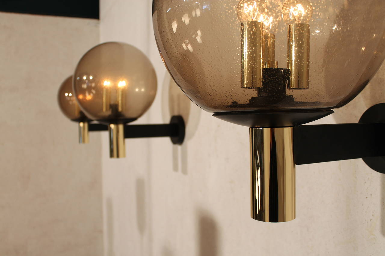 Eight Extra-Large Wall Sconces Smoked Glass with Brass Details, 1970s For Sale at 1stdibs