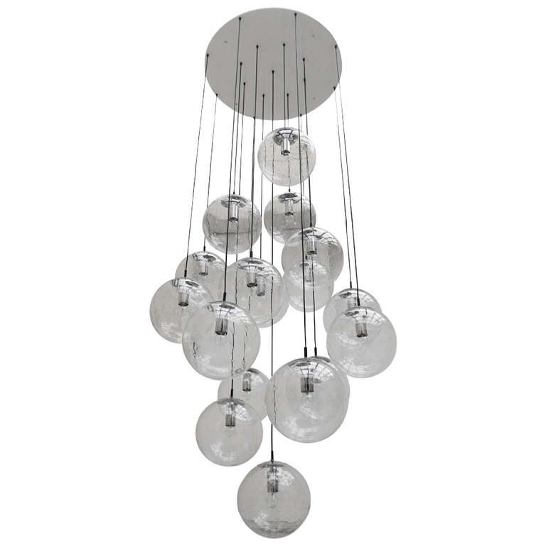 Very Large Raak Glass Ball Chandelier At 1stdibs