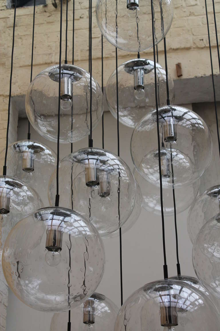 Very large raak glass ball chandelier image 5 for Very modern lighting