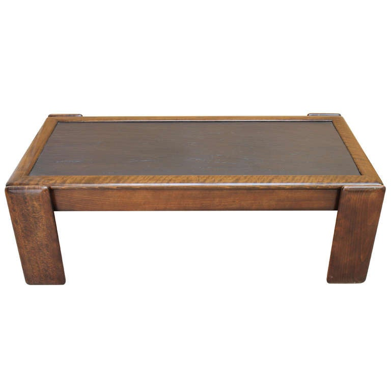 Coffee table with oakwood and slate top italy 1970s at 1stdibs Slate top coffee tables