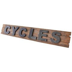 "Decorative Wooden Letters ""CYCLES"" Sign, France, 1940s"