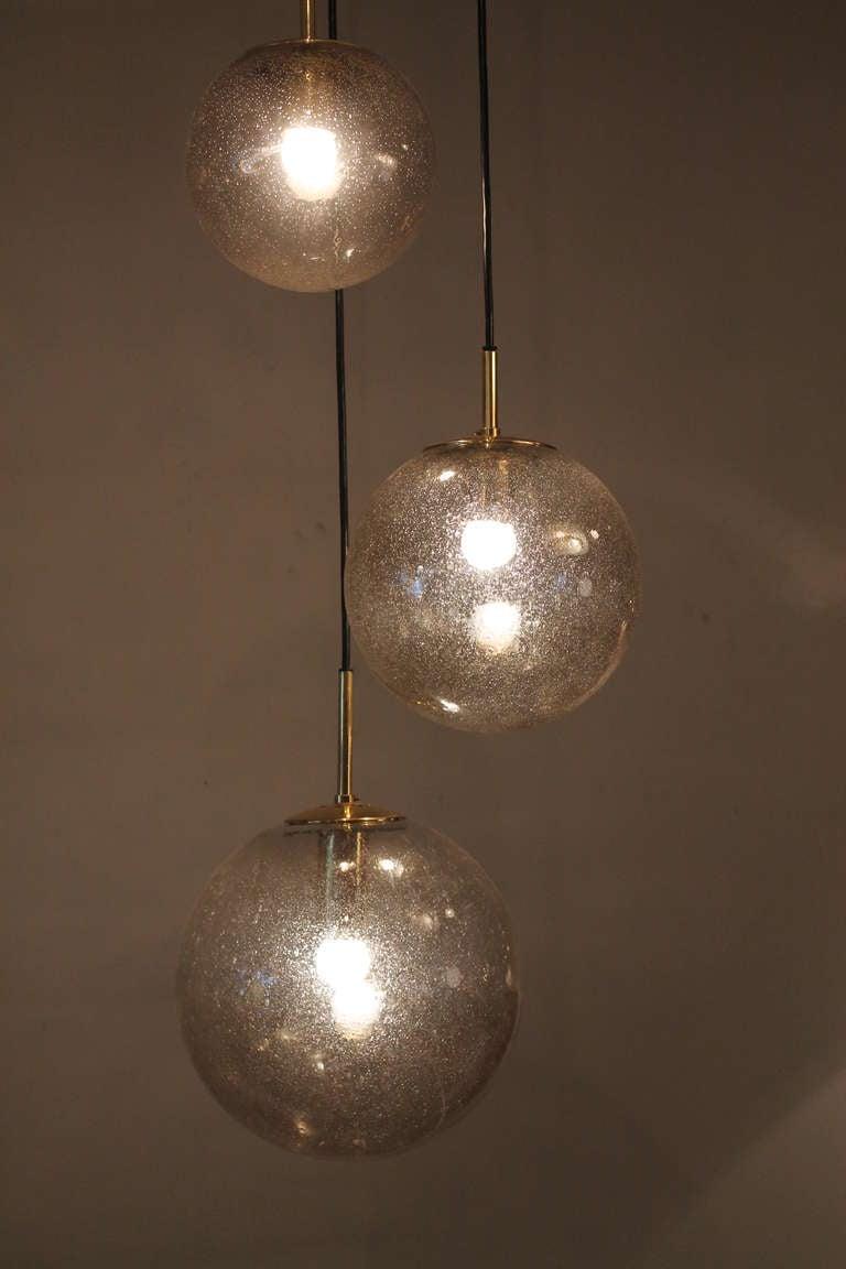 Limburg Glass Ball Chandelier Germany 1960's at 1stdibs