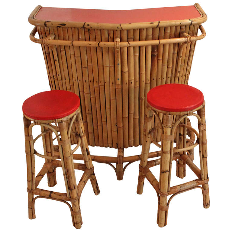 Bamboo Cocktail Bar And Stools By Rohe Holland 1950s At