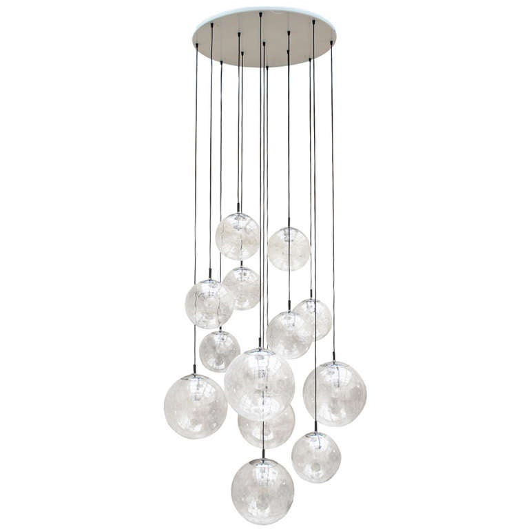 Impressive Extra Large Glass Ball Chandelier By RAAK Amsterdam 1960 At 1stdibs