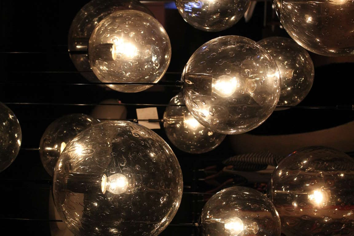 Impressive extra large glass ball chandelier by raak
