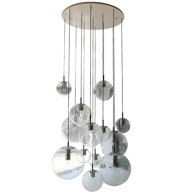 XL Glass Ball Chandelier by RAAK Holland 1960s at 1stdibs