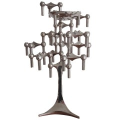 Large modular stacking system candelabra by Nagel on rare tall base