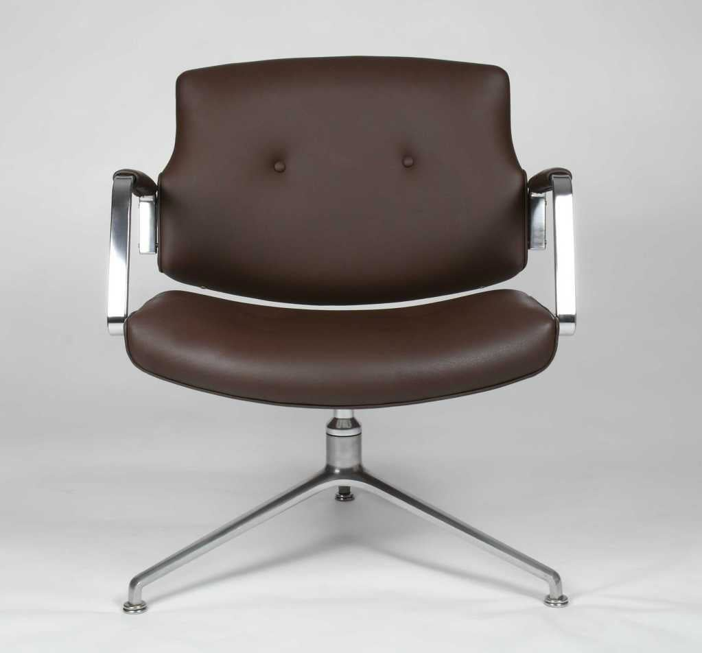 Leather swivel chair by J u00f8rgen Kastholm and Preben Fabricius at 1stdibs