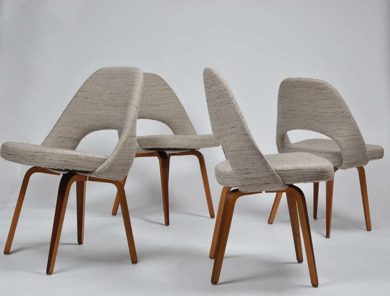 Saarinen Wood Legged Executive Chairs in Knoll Fabric at