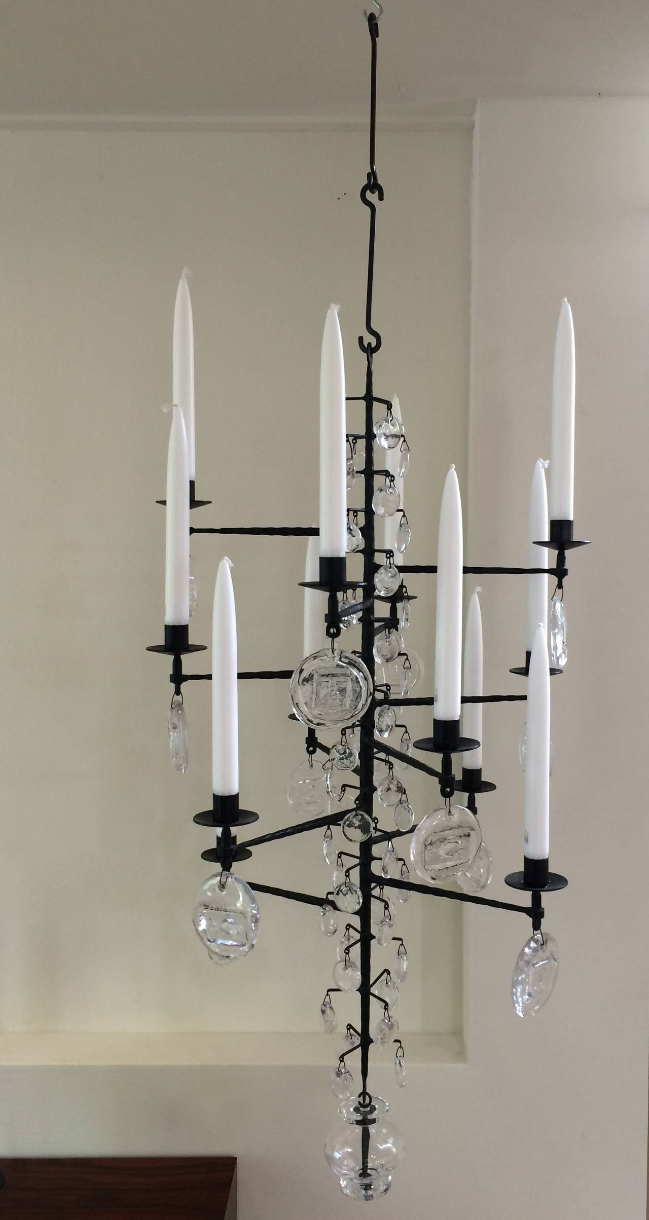 Wrought Iron and Clear Glass 12 Arm Chandelier by Erik Hoglund