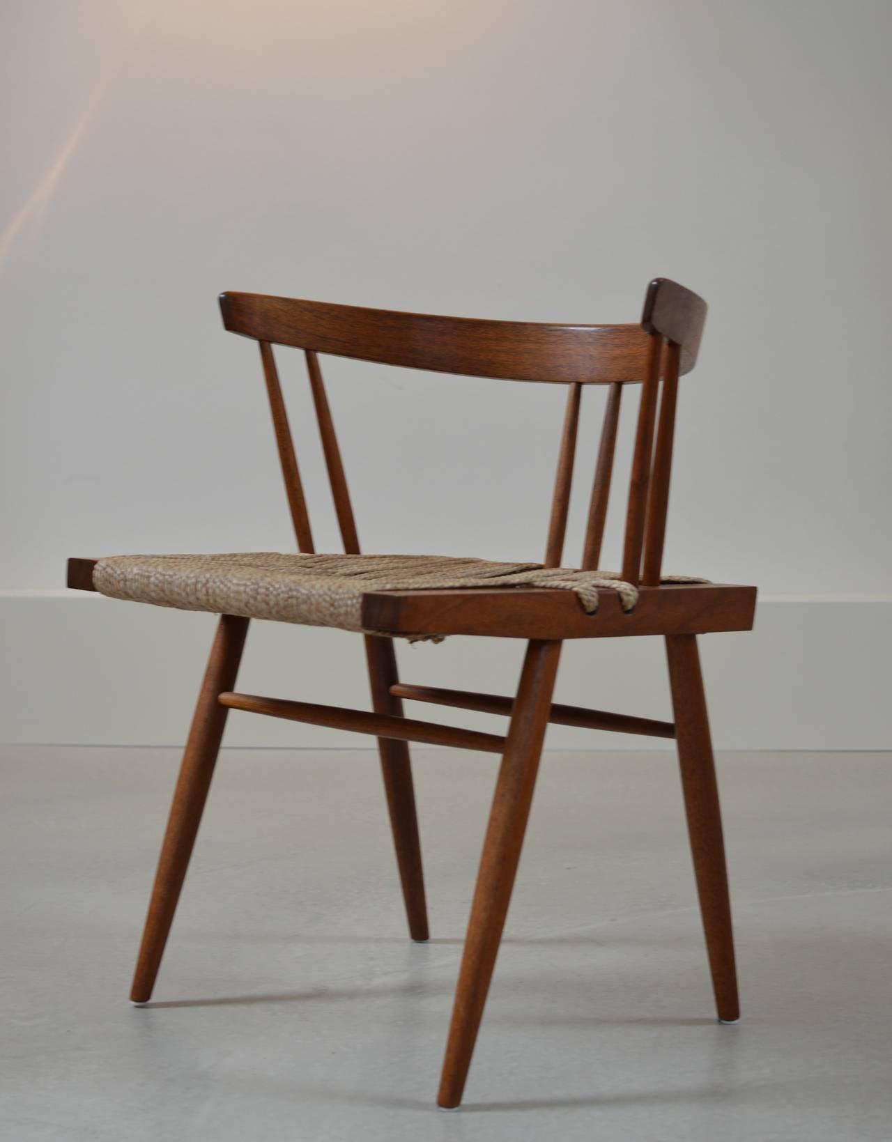 High Quality George Nakashima Black Walnut Grass Seat Chairs 3