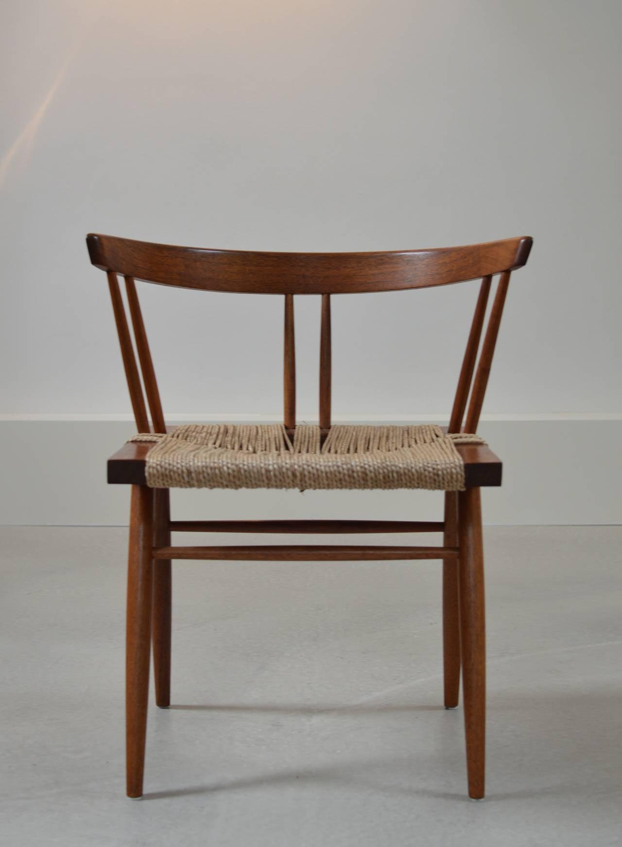 George Nakashima Black Walnut Grass Seat Chairs 2