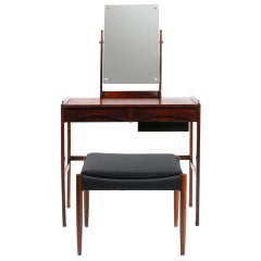 Rosewood Bow Shaped Drawer Vanity by Arne Vodder with Stool