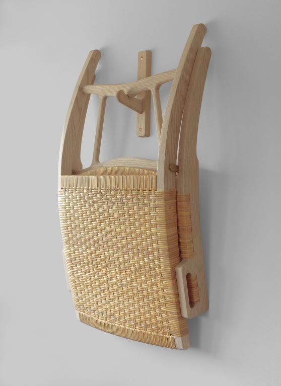 Cane Hans Wegner PP512 hand woven cane folding chair with hook