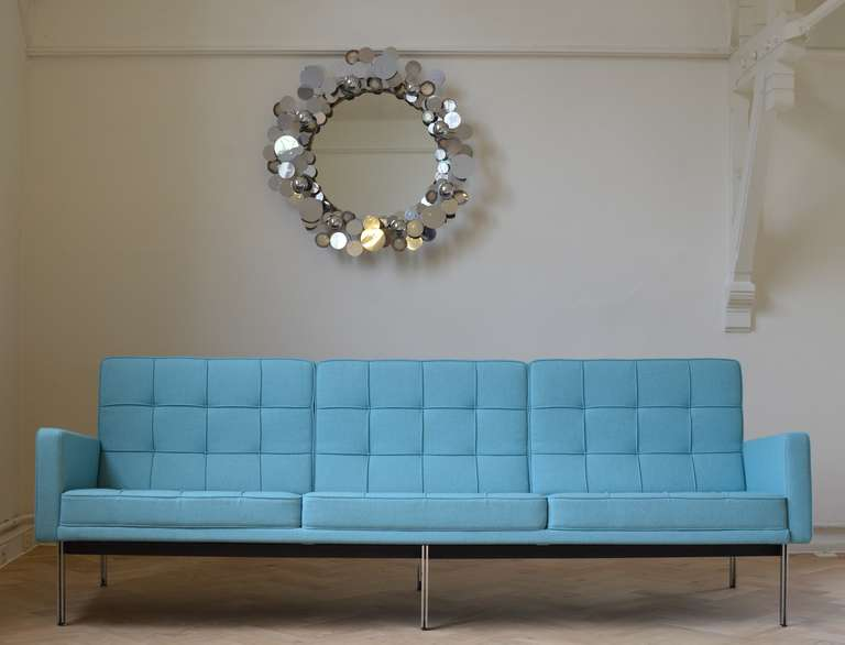 Lovely Aqua Colour 3 Seat Model 57 Parallel Bar Sofa By Florence Knoll For